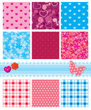 Fabric textures - seamless patterns Royalty Free Stock Images