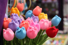 Fabric tulips. Colorful fabric tulips in vase at souvenir shop Stock Photography