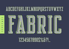 Fabric vector condensed retro typeface, uppercase letters and nu. Mbers, alphabet, font, typography. Global swatches Royalty Free Stock Photos