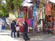Clothing on display for sale in Khan el-Khalili Bazzar in Cairo Royalty Free Stock Image