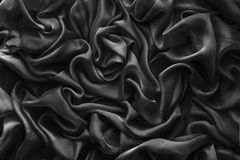 Fabric Waves Background, Cloth Wave, Black Satin Clothes. Fractal Royalty Free Stock Photo