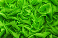 Fabric Waves Background, Cloth Wave, Green Satin Clothes Royalty Free Stock Image