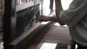 Fabric weaving with handloom, Antakya stock footage