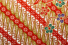 Free Fabric With Floral Batik Pattern Stock Photography - 40819382