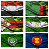 Fabric world flags collection 43 Stock Photos