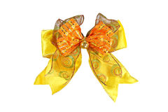 Fabric Yellow bow isolated. Stock Photo