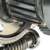 fabricação 3d: fundo das engrenagens do metal Foto de Stock Royalty Free