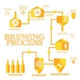 Fabricação de cerveja infographic Fotos de Stock Royalty Free
