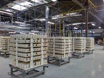 Fabricação de copos em uma fábrica da porcelana Fotografia de Stock Royalty Free