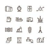 A fabricação do petróleo e gás e o equipamento industrial vector a linha ícones ilustração stock