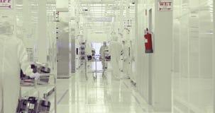 Fabricação do quarto desinfetado de bolachas de silicone para a indústria dos semicondutores video estoque