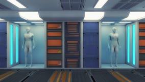 Fabricação humana do clone e sala futurista Imagem de Stock