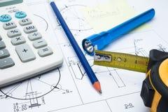 Fabricação, medição e execução Fotografia de Stock Royalty Free