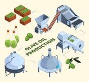 Fabricação verde-oliva Garrafas do centrifugador do tanque da exploração agrícola da indústria da imprensa do alimento de planta  ilustração royalty free