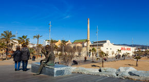 Fabrica and statue of Anis del Mono. Badalona Stock Photography