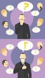 Fabricación de concepto de la decisión Dudas de Boss Los colegas dan consejos Hombre de negocios inseguro, entonces seguro Hombre libre illustration