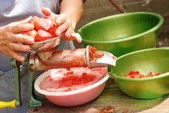 Fabricación de la salsa de tomate fotos de archivo