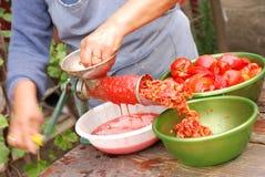 Fabricación de la salsa de tomate imagen de archivo libre de regalías