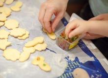 Fabricación de las galletas a casa hechas Fotos de archivo