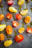 Fabricación de los tomates secados mitad Foto de archivo libre de regalías