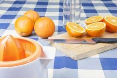 Fabricación de los zumos de naranja Fotografía de archivo libre de regalías