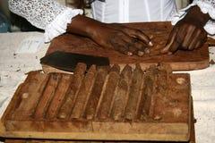 Fabricación de un cigarro imagen de archivo libre de regalías