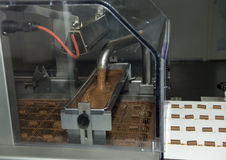 Fabricación del chocolate dentro del Broc-gruyere de la fábrica del chocolate de Maison Cailler, Suiza Foto de archivo libre de regalías