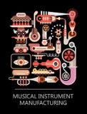 Fabricación del instrumento musical Foto de archivo libre de regalías