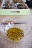 Fabricación del juego de té de la infusión del Manzanilla-estragón Fotografía de archivo libre de regalías