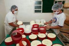 Fabricación del queso artesanal Imagenes de archivo