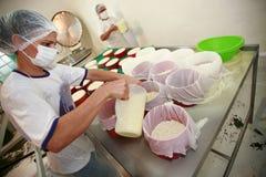 Fabricación del queso artesanal Fotografía de archivo libre de regalías