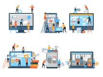 Fabricación del sitio Las páginas web bajo optimización del seo de la construcción que comercializaba vector simple del equipo de ilustración del vector