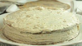 Fabricaci?n de receta de la torta del crep? del oreo almacen de video