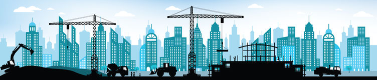 Fabricación del nuevo edificio en la ciudad Imagenes de archivo