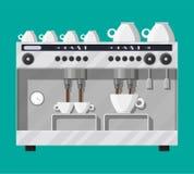 Fabricante de café con las tazas ilustración del vector