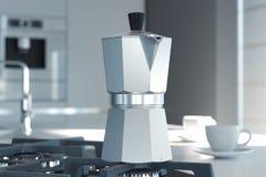 Fabricante de café del géiser en la cocina representación 3d ilustración del vector