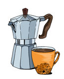 Fabricante de café del géiser y taza de café stock de ilustración