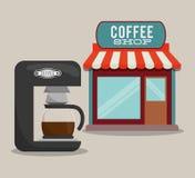 Fabricante de café de la máquina de la cafetería ilustración del vector