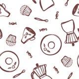 Fabricante de café a mano del géiser, platillo, taza, cuchara, caramelo y una magdalena en un fondo blanco Ilustración del vector ilustración del vector