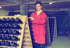Fabricante del vino que toma el cuidado de las botellas del condimento Fotos de archivo