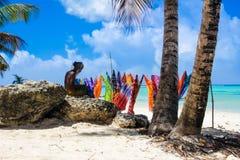 Fabricante dos sarongues de Tobago Fotografia de Stock Royalty Free