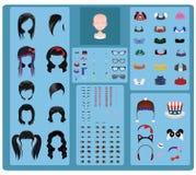 Fabricante fêmea do avatar - cabelo preto ilustração do vetor