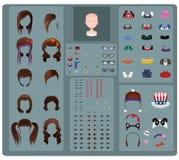 Fabricante femenino del avatar - pelo marrón stock de ilustración