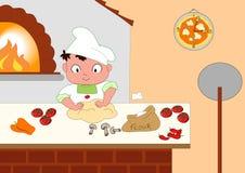 Fabricante joven de la pizza ilustración del vector