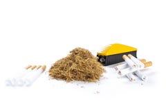 Fabricante, tubos e tabaco de cigarro Imagem de Stock