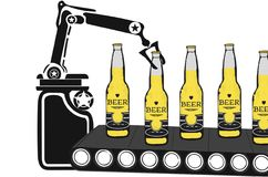 Fabrication de bière vérifiant dans l'usine Illustration Libre de Droits