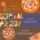 Fabrication de la pizza, ingrédients frais pour la pizza illustration de vecteur