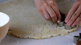 Fabrication des biscuits de Noël, flouring, pâte de déroulement, coupant dans différentes formes, mettant sur une plaque de cuiss banque de vidéos