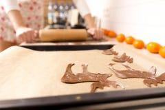 Fabrication des biscuits de pain d'épice pour Noël dans la cuisine ` S Han de femme photos stock