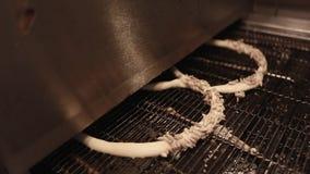 Fabrication des bretzels frais avec le tournesol et les graines de sésame dans la boulangerie banque de vidéos